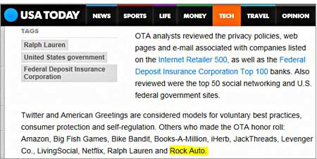RockAuto has been hailed as one of the top 10 companies for best practices by the Online Trust Alliance!