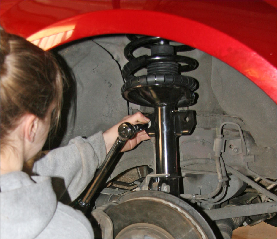 She installed completely new Strut/Coil Spring/Mount Assemblies rather than just the struts.
