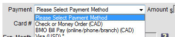Check or Money Order (CAD) & BMO Bill Pay (online/phone/branch) payment methods on checkout screen
