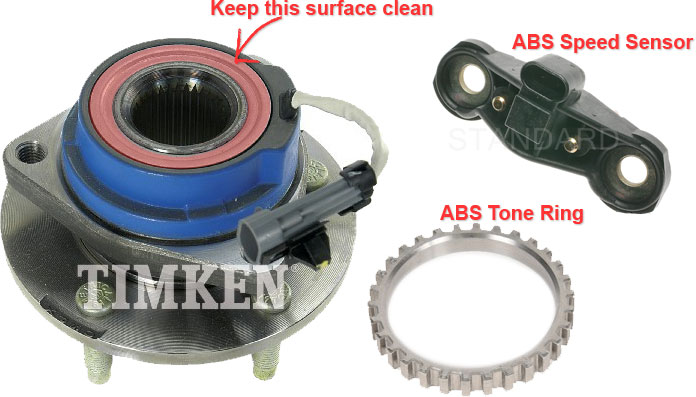 Timken Hub, ACDelco ABS Tone Ring, SMP ABS Speed Sensor