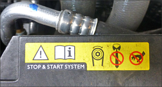 Stop/start sticker under Citroen hood