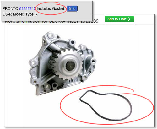 example listing showing gasket included