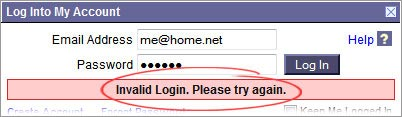 invalid login