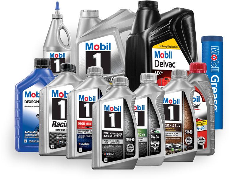 Mobil brand motor oils, transmission fluids, and gear oils
