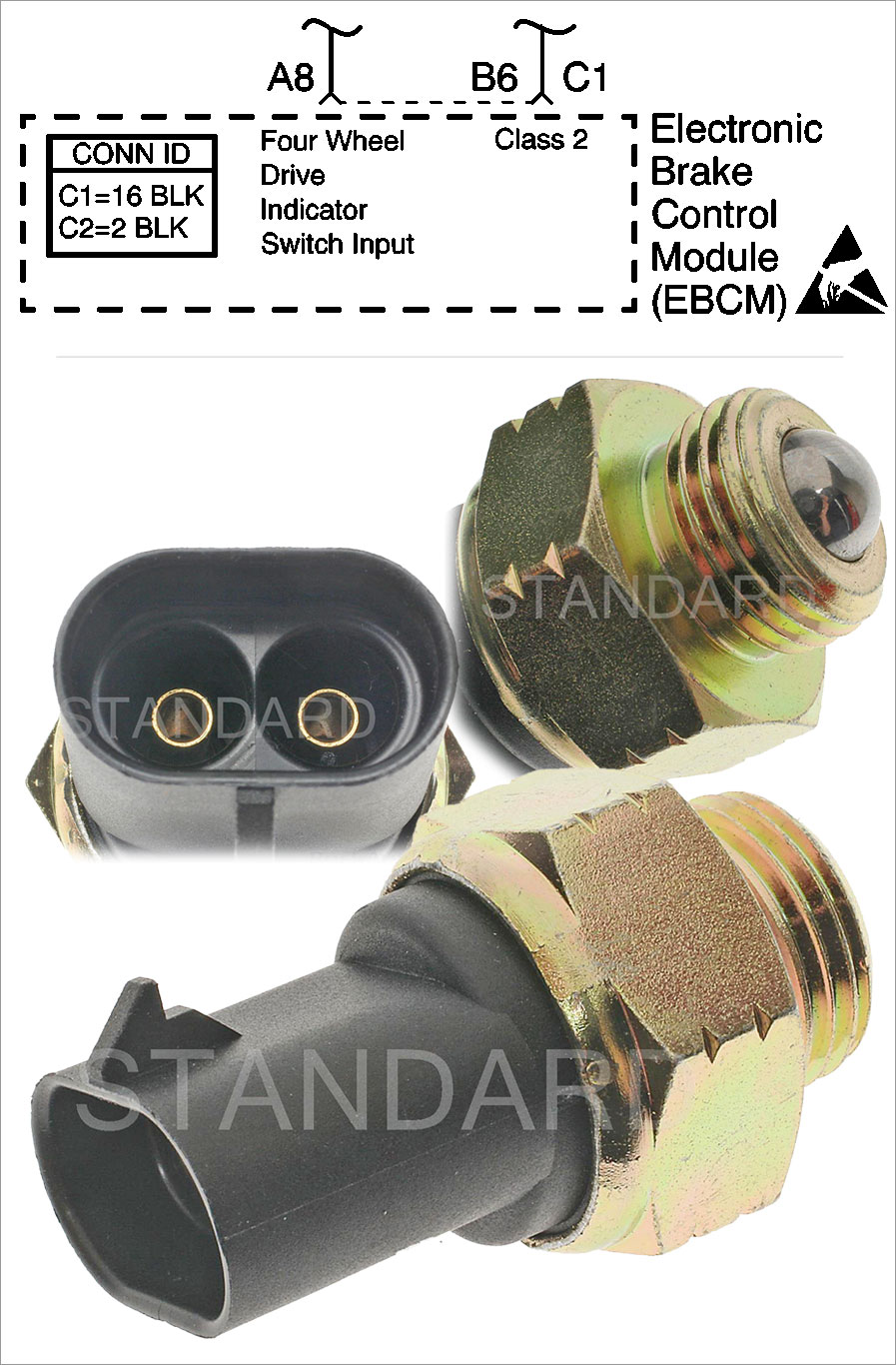 Standard Motor Products 4WD Indicator Switch used on 1983-2005 GM vehicles