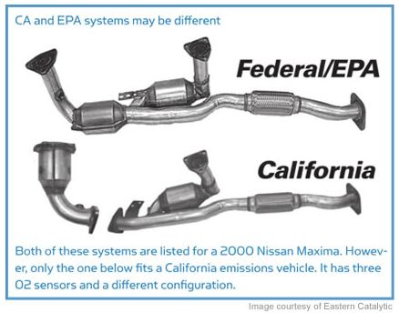 Both of these systems are listed for a 2000 Nissan Maxima. Howeverr, only the one below fits a California emissions vehicle. It has three 02 sensors and a different configuration.