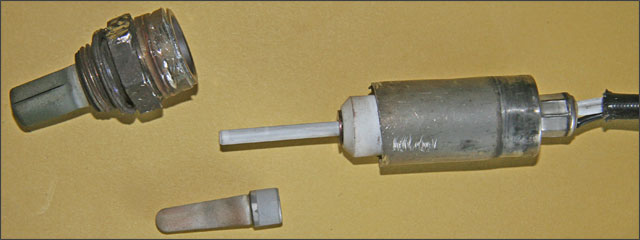 the metal housing fits over a ceramic bulb that fits over a thin heating rod